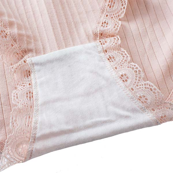 Antibacterial Mid Rise Cotton Panties with Lace, Protective Layer Bottom