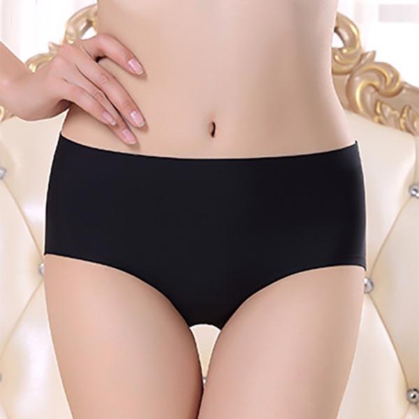 Ice Silk Seamless Brief Panties - Black