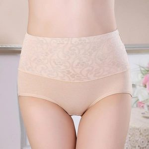 High Rise Cotton Brief Panties with Jacquard - Beige