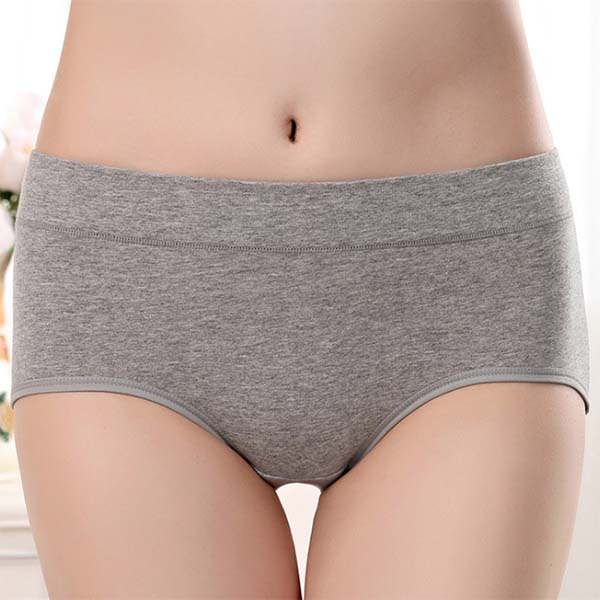 Classic Mid Rise Cotton Panties, Grey