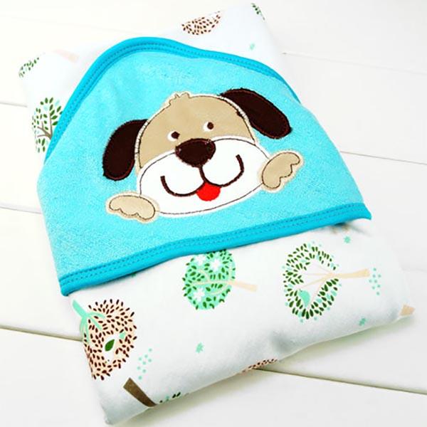 Hooded Baby Bath Towel - Dog Pattern
