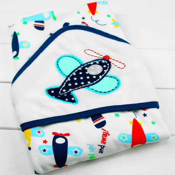 Hooded Baby Bath Towel - Plane