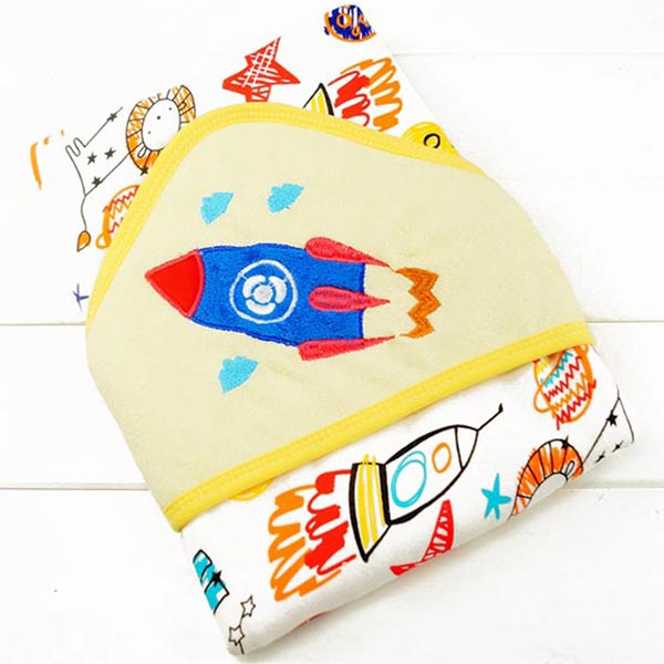 Hooded Baby Bath Towel - Rocket