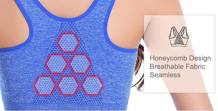 Zip Front Closure Sports Bra Back Design