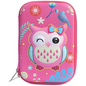 Cute Pencil Case for Girls Pink Owl